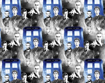 BBC Doctor Who Police Public Call Fabric - Black - Sold by the 1/2 Yard