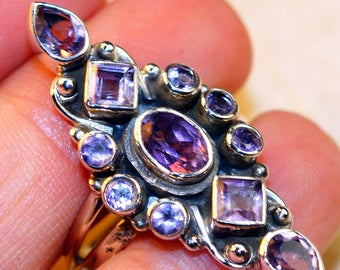 Amethyst & 925 Sterling Silver Ring size 9 by Silver Trend