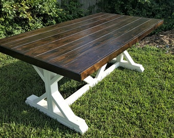 Farmhouse Table, Fancy X, Trestle Leg, Handmade, Solid Wood, Kitchen And