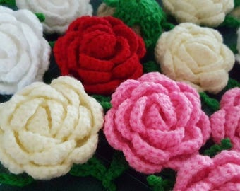 6x Handmade Crochet Red Rose 2.5""