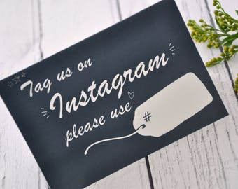 Instagram Wedding Sign, Tag Us On Instagram, Hashtag Wedding Sign, Framed or Tent Fold Wedding Instagram Sign, Instagram Wedding Signage