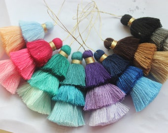 Triple Stacked Tassels,Cotton Thread Tassels,Triple Tiered Tassels,Tiered Tassels,OmbreTassels,Three Tier Jewelry Tassels