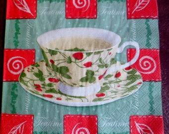 4 paper napkins tea time, paper napkins Tea Cup