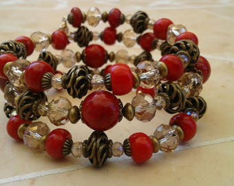 Red Crystal Wire Wrap Bracelets, Red Crystal Bracelets, Red Jewelry, Memory Wire Bracelets, Beaded Jewelry, Crystal Jewelry
