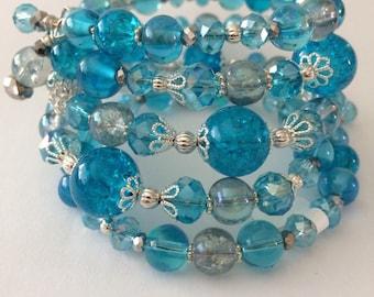 Blue silver Bead Bracelet, Blue wrap  Bracelet, Blue Memory Wire Bracelet, gifts for her, Silver Bead bracelet, blue jewelry, stocking stuff