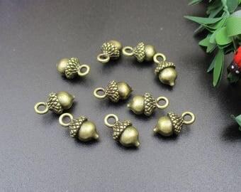 10Pcs 6x8x13mm 3D Acorn Charms, Antique Bronze Tone - p1391