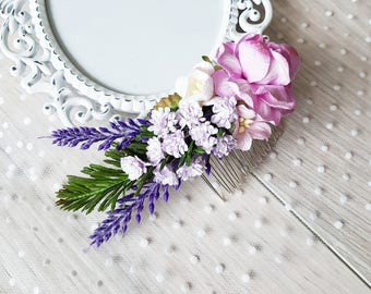 Bridal hair comb, Lilac hair comb, Bridal headpiece, Wedding headpiece, Hair comb, Lavander flower comb, Rose comb, Hair flowers