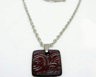 Black ceramic necklace - black and red graphic