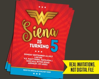 Wonder Woman Invitation   Wonder Woman Birthday - Wonder Woman