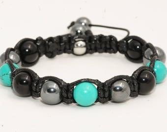 Men's Turquoise/black/Hematite Agate stone bracelet