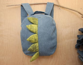 Dragon backpack , dragon bag , recycled denim backpack , jeans kids toddler backpack , animal backpack , denim bag , childrens rucksack