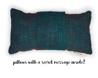 Vintage Kantha - pillow with a secret message