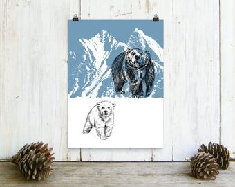 Mama Bear print, Nature Printable Art, Bear Family Print, Woodland Animals, Natural Decor, Cabin Decor, Art & collectibles, Paper Wall Art