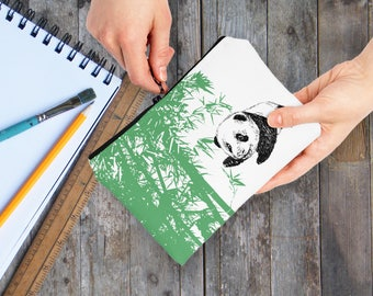 Panda Pencil Case, Carry All Pouch, Makeup Case, Green White Makeup Bag, Panda Gift, Pencil Pouch, Pencil Holder, Gift For Kids, Coin Purse
