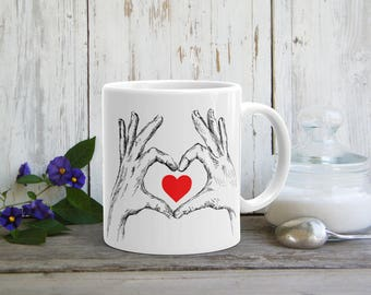 Funny Valentine Gift, Love Sign Mug, Romantic Gift, Love Token, Coffee Mug, Valentines Gift, Tea Mug, Black Red Drinkware, Mum Gift