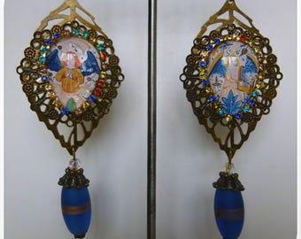 "Earrings style medieval ""Angelus"" medieval illustrated cabochons, Rhinestones, bronze filigree, blue artisan glass"