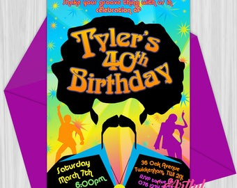 Printable 70's Disco Party Invitation Any Age 30,40, 50, 60