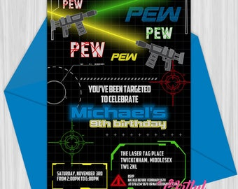 Printable Laser Tag Party Invitation | Personalized