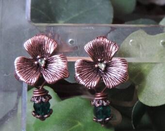 "Floral ""Light Copper"" - Emerald earrings"