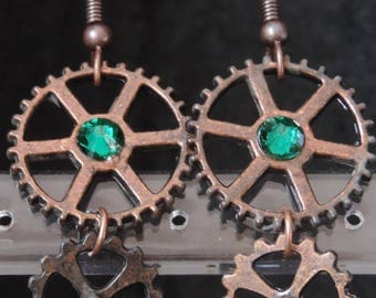 """Steampunk earrings """"Light - green"""""""