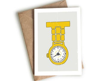 Illustrated Fob Watch Card - Time - Nurse- Quirky Card - Hand-drawn - Illustrated & Hand-drawn Stationery - Made in UK - Blank Card