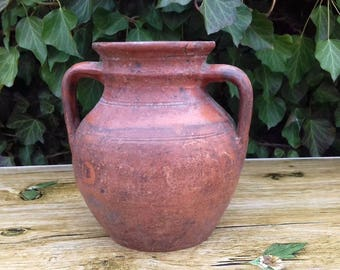 Antique Authentic Old Ceramic Redware Pot Jar For Milk or Food