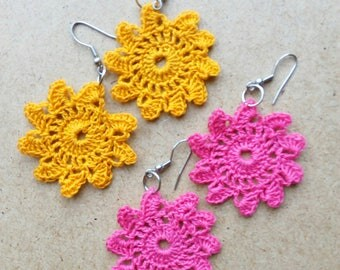 Lace Earrings - Hand Crocheted - Gypsy - Boho - Hippie - Gift for her