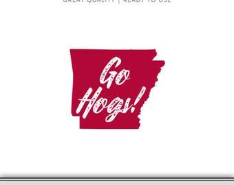 Arkansas Go Hogs State Silhouette Graphic - Razorback SVG - Arkansas SVG - Cut File - Digital Download - Cricut - Silhouette Ready to Use!