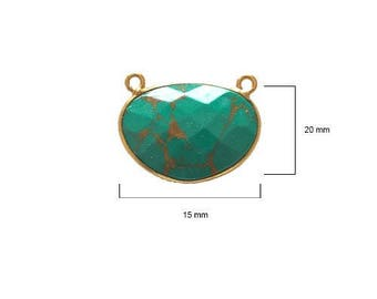 BLUE TURQUOISE OVAL 15X20 mm gold double s