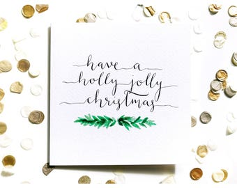 Holly Jolly Christmas card, watercolour, typography
