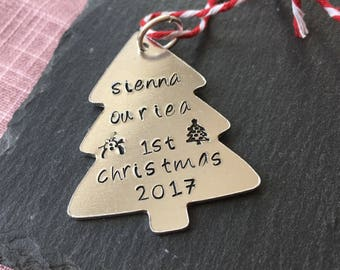 Baby's first Christmas decoration, Hand stamped tree ornament