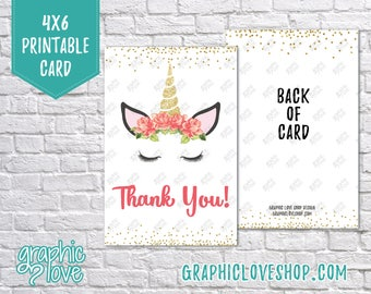 Printable 4x6 Floral Unicorn Thank You Card - Folded & Postcard | High Res Digital JPG Files, Instant Download, Ready to Print -NOT Editable