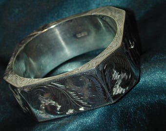 Vintage 1920's huge etched Sterling Silver  Octagonal Cuff Bracelet,Etched on all sides and edges, One of a Kind, Unique! Stunning!