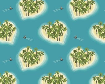 Island Girl Pacific Blue Love Heart Islands Palm Trees Tropical Cotton Fabric by Lewis and Irene