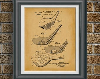 Vintage Golf Patent Print Golf Club Office Wall Art Golf Decor Golf Lovers  Gift For Dad