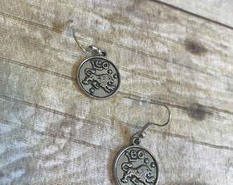 Leo zodiac medallion earrings