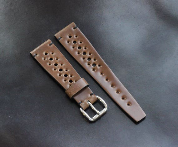 Custom 22/16mm Horween Shell Cordovan Rally watch band with simple stitching