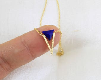 Spike Triangle Navy Stone Charm Necklace, Gold Triangle Necklace,Minimalist Necklace, Triangle Necklace,Boho Necklace,7083