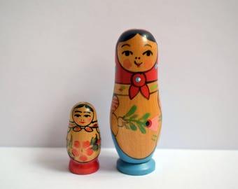 Vintage Russian nesting doll made in USSR Matryoshka nostalgic gift Soviet era small souvenir Set of 2