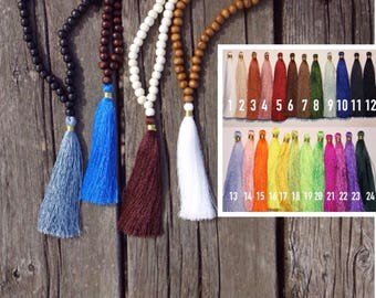 Custom beaded tassel necklace- 8mm wooden beads
