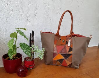 Patchwork leather and khaki canvas tote bag