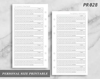 Personal Size Printable TV Series Tracker Log Digital Digital Download PR028