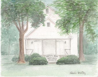 Church Watercolor Painting, Custom Church Illustration and Original Venue Watercolor Painting