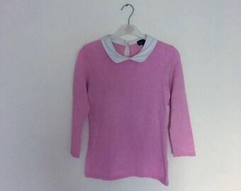 Pink Vtg Peter Pan Collar Blouse. 80's shirt. sz small.
