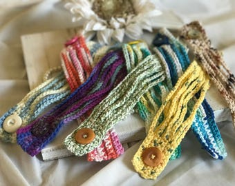 Crochet cuff bracelet -- set of two
