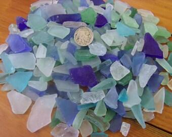 Sea glass,  1 pound, blues, greens and whites