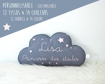 "Cushion cloud ""Star Princess"" name personalize - organic cotton and oeko-tex"