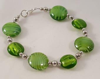 Brown Glass Bracelet - Yellow Glass Bracelet - Blue Glass Bracelet - Green Glass Bracelet -Swirl Bracelet -Glass Bracelet -Colorful Bracelet