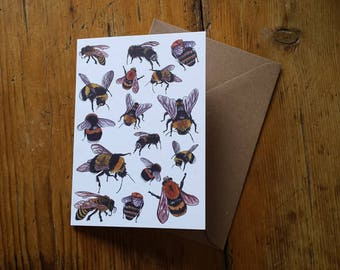 Bee Greeting Card by Alice Draws The Line featuring a range of buzzy bees drawn from observations of bees visiting the flowers in the garden