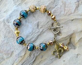 statement bracelet, crystal bracelet, Murano Glass Bracelet, Blue glass Bracelet, Beaded Bracelet, Gold Bracelet, Fleur de lis Bracelet (B81
